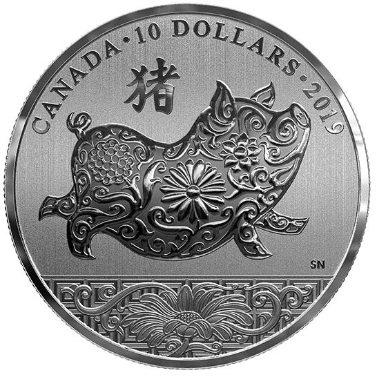 2019 - $10 - Pièce de 1/2 oz en argent pur - Année du Cochon