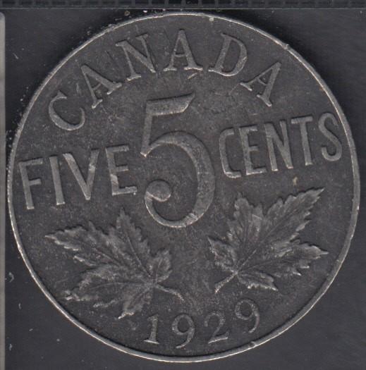 1929 - VF-EF - Canada 5 Cents