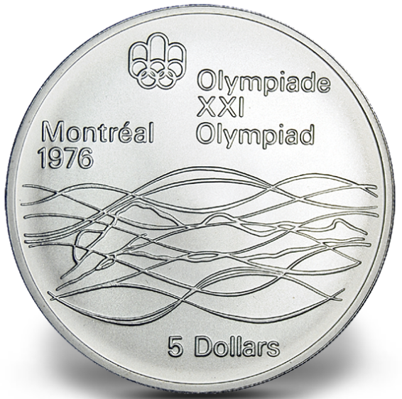 1976 - #20 (1975) - $5 - Sterling Silver Coin, Montreal Summer Olympic Games, Swimming