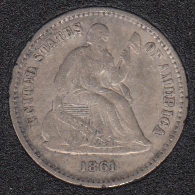 1861 - Liberty Seated - VF - Half Dime