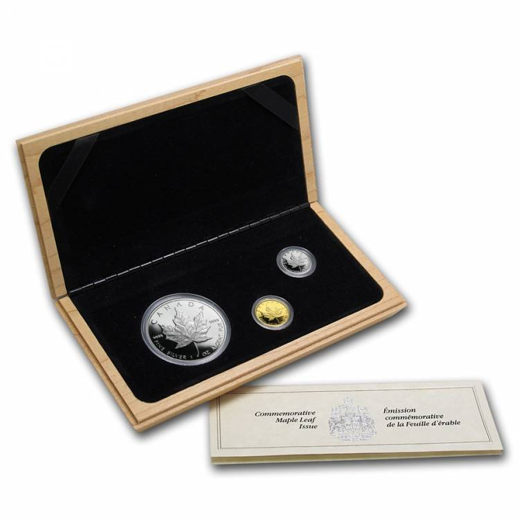 1989 Canada Maple Leaf 10th Anniversary Platinum, Gold & Silver 3 Coins Set