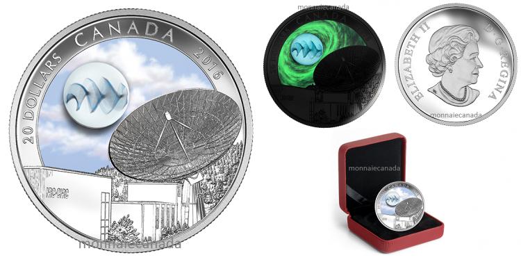 2016 - $20 - 1 oz en argent pur – L'Univers : Verre photoluminescent et vapeur d'argent