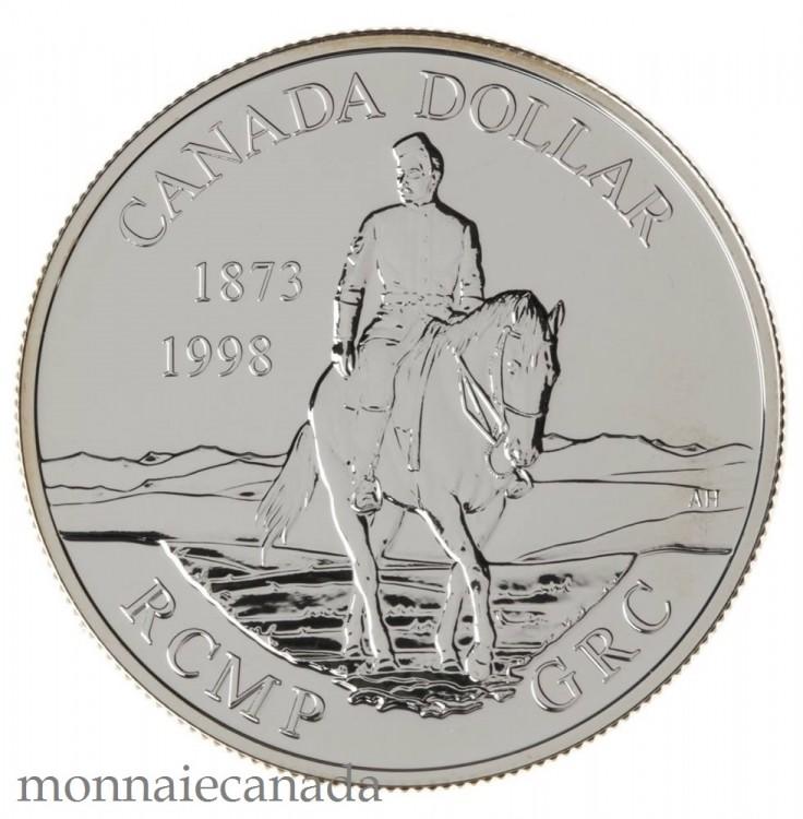 1998 Canada Brillant Uncirculated Sterling Silver Dollar - $1 125th R.C.M.P.