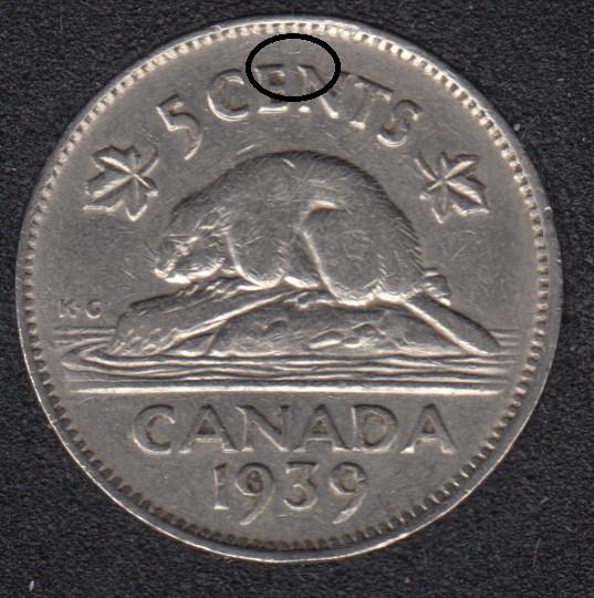 1939 - Die Break EN Attached - Canada 5 Cents