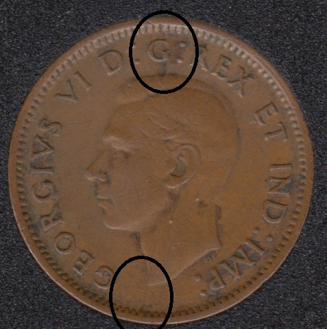 1943 - Break Bust to Rim - Head to G to Rim - ML to Rim - Canada Cent