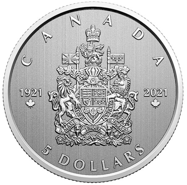 2021 - $5 - Pièce de 1/4 oz en argent pur - Grands moments : 100e anniversaire des armoiries du Canada