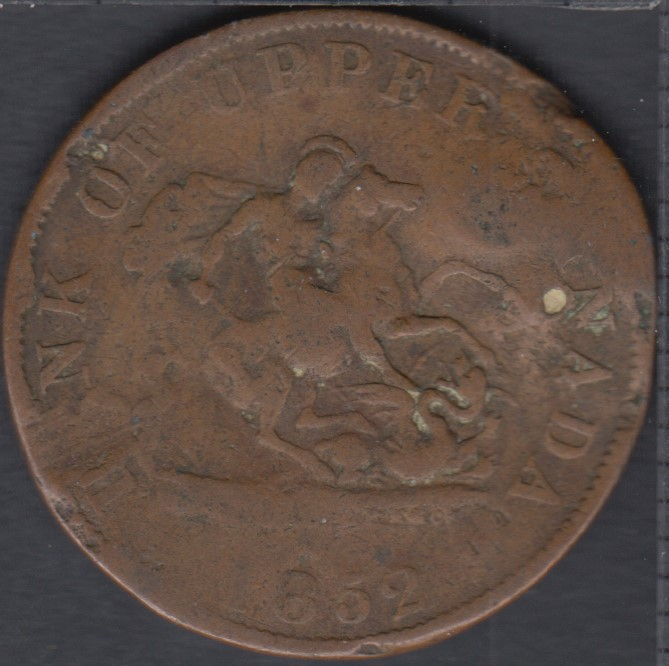 P.C. 1852 Bank of Upper Canada Half Penny - Damage - PC-5B2