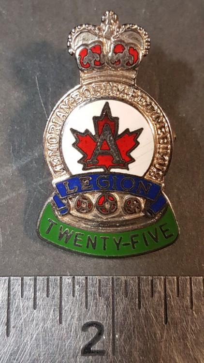 #129 Royal Canadian Legion 25 Year Award Pin