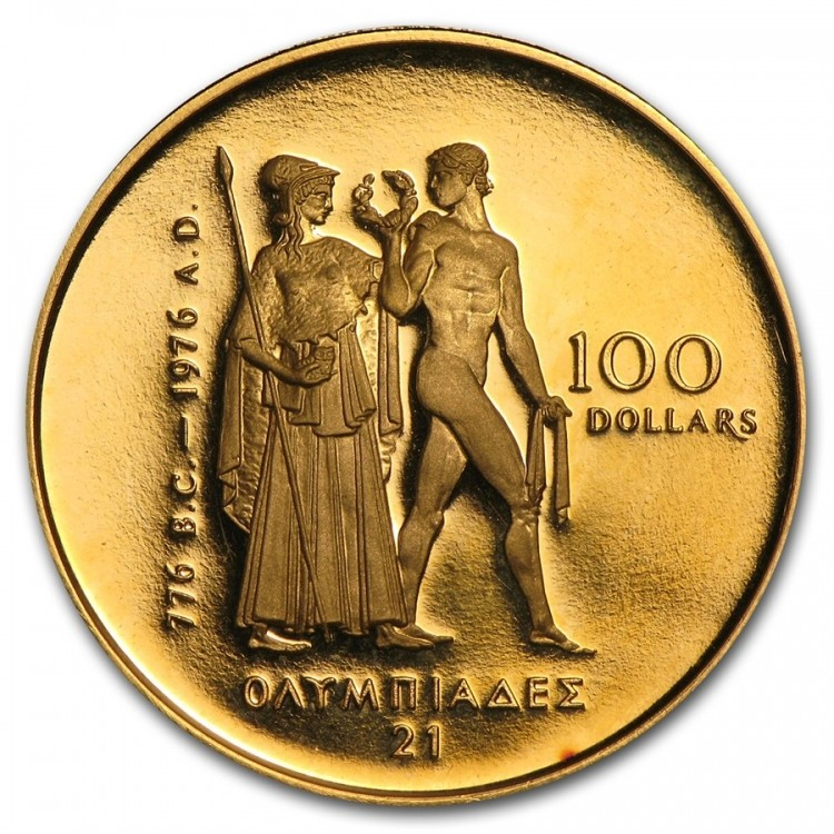 1976 100 En Or 22 K Olympique Monnaie Canada