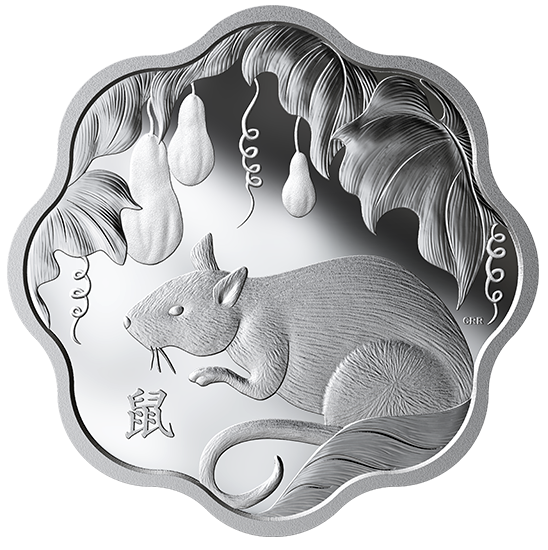 2020 - $15 -   Pure Silver Lunar Lotus Coin - Year of the Rat