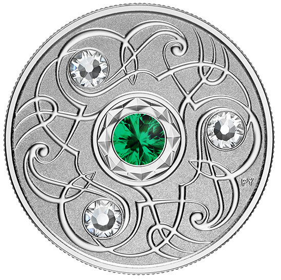 2020 - $5 - May Birthstone - Pure Silver Coin with Swarovski® Crystals