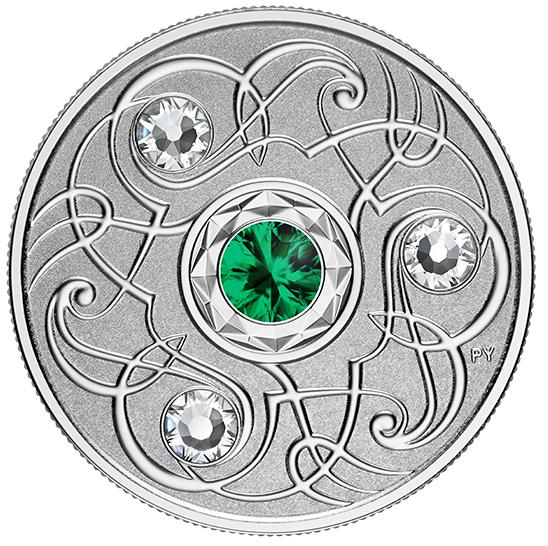 2020 - $5 - Pierre de naissance de mai – Pièce en argent pur rehaussée de cristaux SwarovskiMD