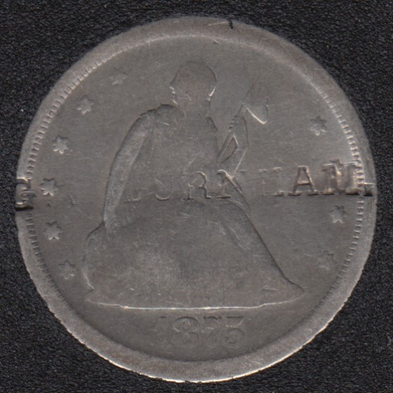 1875 S - Seated Liberty - 20 Cents - Graffity