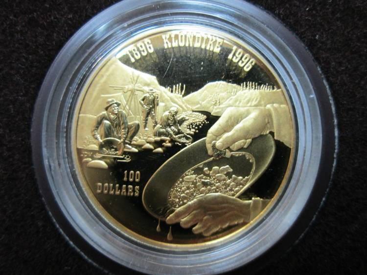 1996 100 Gold 14 K Coin Klondike Gold Rush Canada