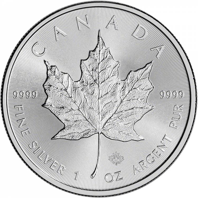 1 oz Canada Feuille Érable en Argent Fin d'occassion  - Date Mixte - Sécurité Laser - Sans Taxe
