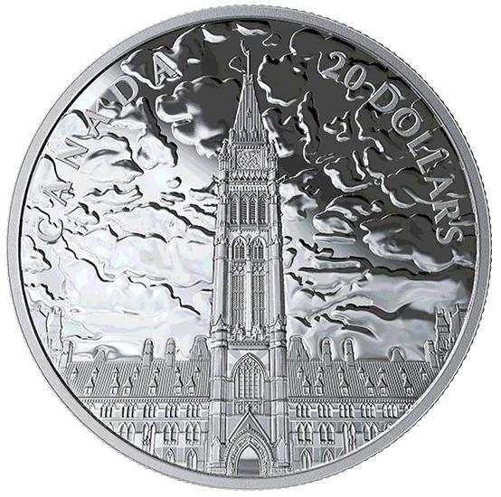 2019 - $20 - Pièce de 1 oz en argent pur - Lumières sur la colline du Parlement