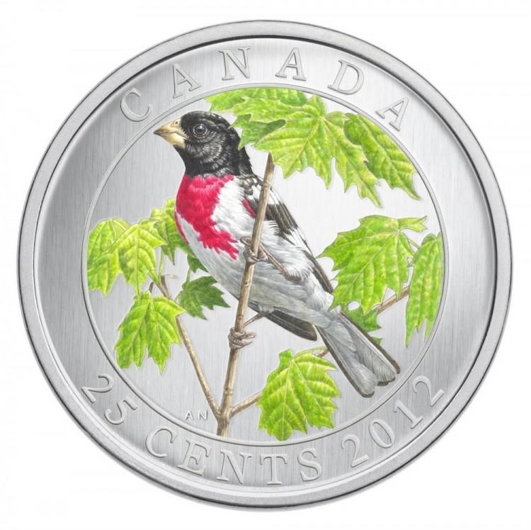 2012 - Cardinal à poitrine rose - Pièce de 25 cents colorée