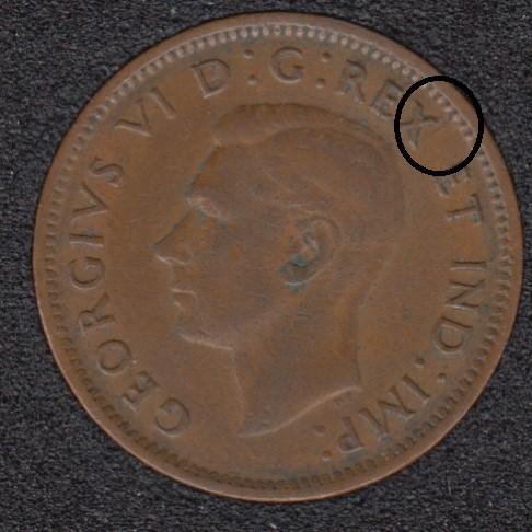 1946 - Break X to Rim - Canada Cent