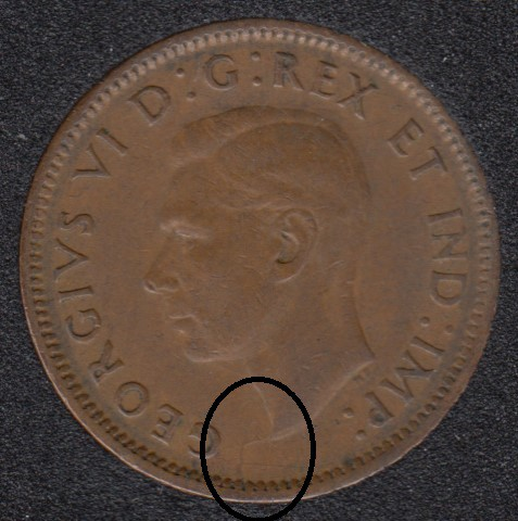 1943 - Break Bust to Rim - Canada Cent