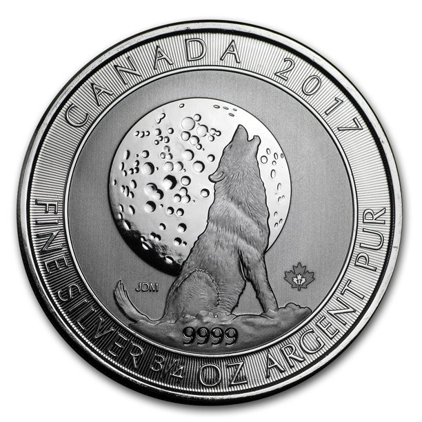 2017 - Canada $2 Howling Wolves Series 3/4oz Fine Silver