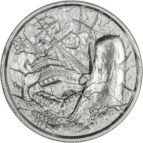 2 oz Elemetal The White Whale Ultra High Relief Silver Round (Privateer Series #6, New)
