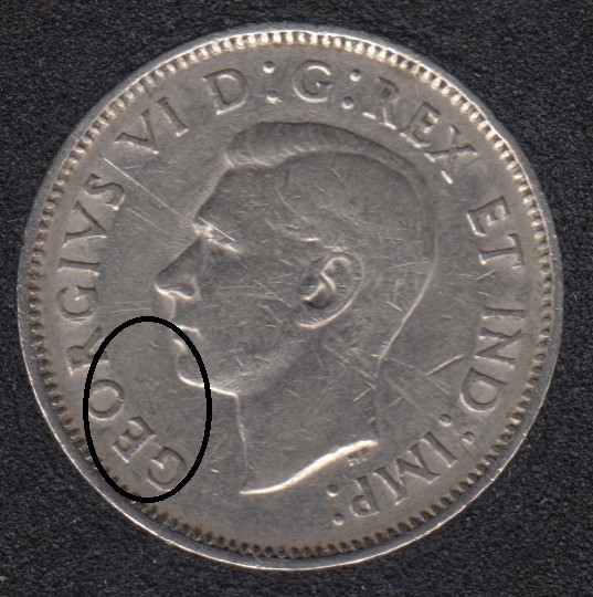 1940 - Die Break GEOR Attached - Canada 5 Cents