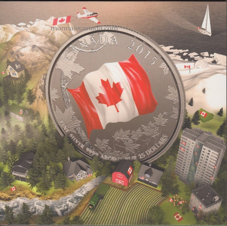2015 - $25 - Fine Silver coin, The Canadian flag, IN COLOUR!