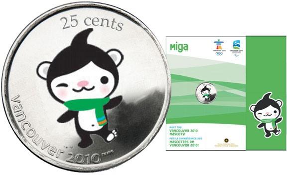 2010 - 25¢ - Vancouver – Miga Mascot Coins