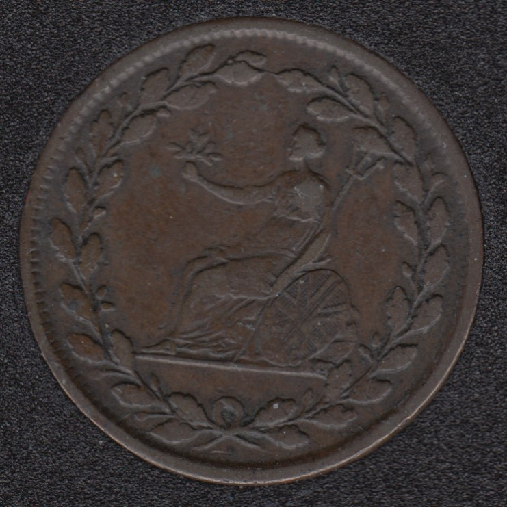 1813 - Rotated Dies - Bristish Copper Company - Galata Half PennyToken