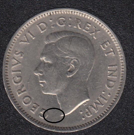 1939 - Die Break G Attached to Bust - Canada 5 Cents