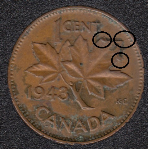 1943 - 2 Dot on ML - Break ML to Rim - Canada Cent