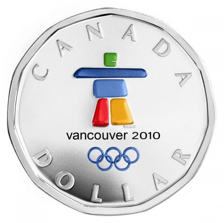 2010 Olympic $1 Silver Lucky Loonie - Inukshuk