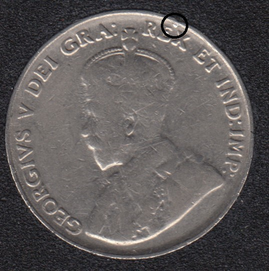 1935 - Dot on Rim - Canada 5 Cents
