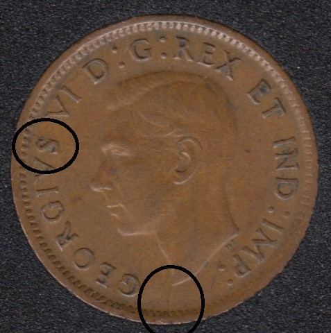 1943 - Break S to Rim - Bust to Rim - Canada Cent
