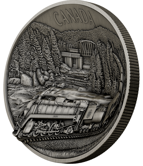 2019 - $250 - Pure Silver Concave Ultra-High Relief One Kilogram Coin - 100th Anniversary of CN Rail
