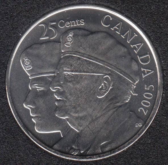 2005 P - B.Unc - Veterans - Canada 25 Cents