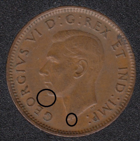 1943 - Dot un Bust & Near - Canada Cent