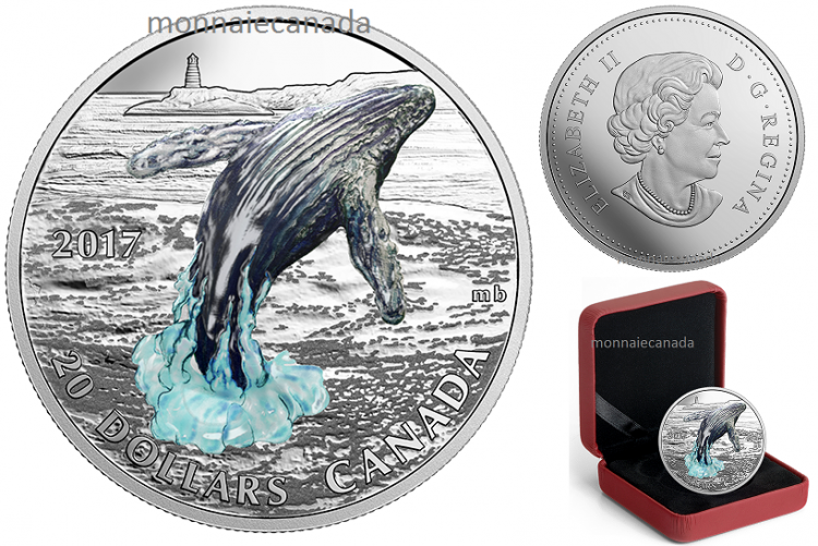 2017 - $20 - 1 oz. Pure Silver Coin – Three-Dimensional Breaching Whale