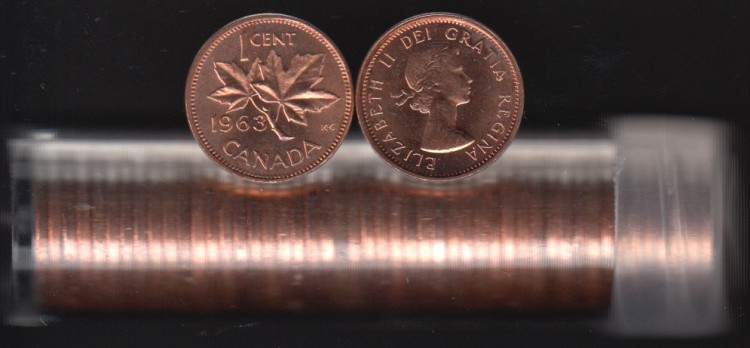1963 Canada 1 Cent - BU ROLL 50 Coins - UNC - in Plastic Tube