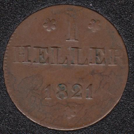 1821 FGB - 1 Heller - Frankfurt Am Main - Allemagne