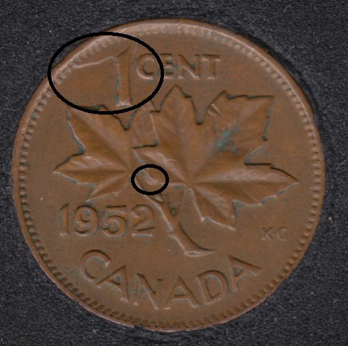 1952 - Dot on ML & Xtra Metal - Canada Cent