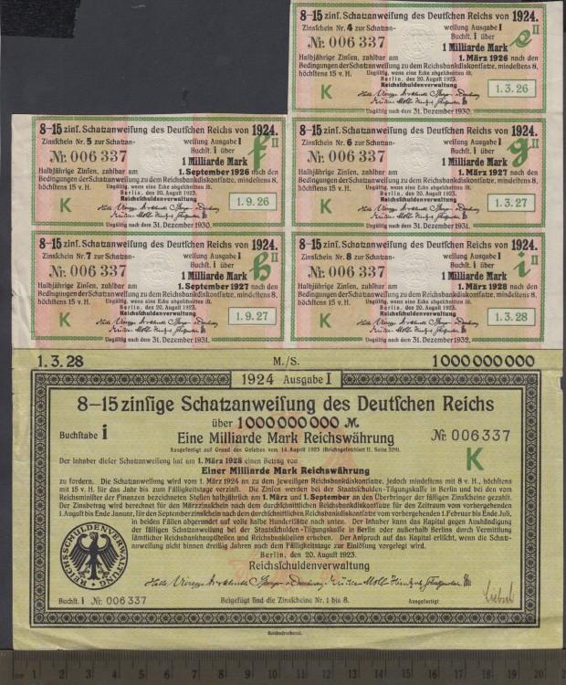 1924 -1,000,000,000 Mark Treasury Bond - One Billion Mark Bond - Berlin, Allemagne
