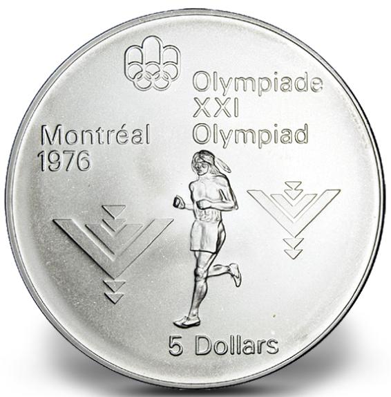 1976 - #14 (1975) - $5 - Pièce en argent sterling, Jeux olympiques d'été à Montréal, Marathon