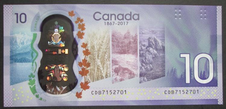 1867 2017 $10 Dollars UNC - Wilkins Poloz - Préfixe CDB