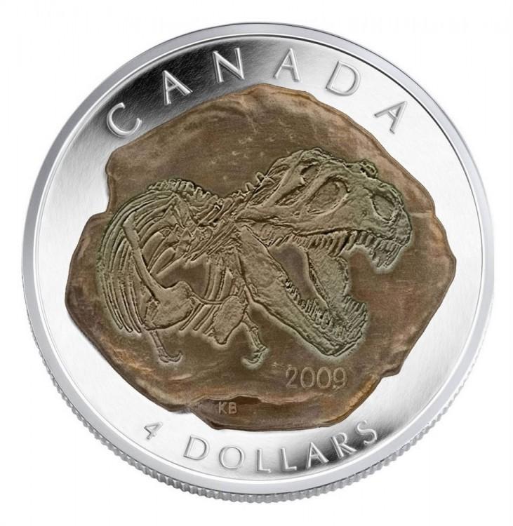 2009 -$4 Fine Silver Dinosaur Tyrannosaurus rex - Tax Exempt