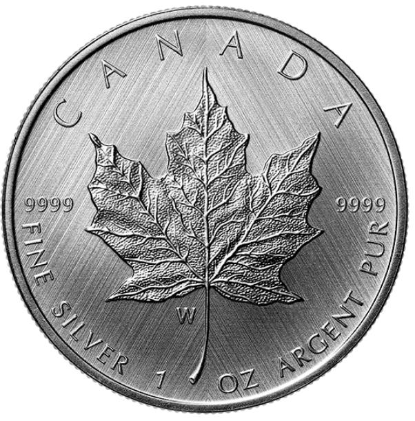 "2021 W - $5 - 1 oz. Pure Silver Coin - ""W"" Mint Mark: Silver Maple Leaf"