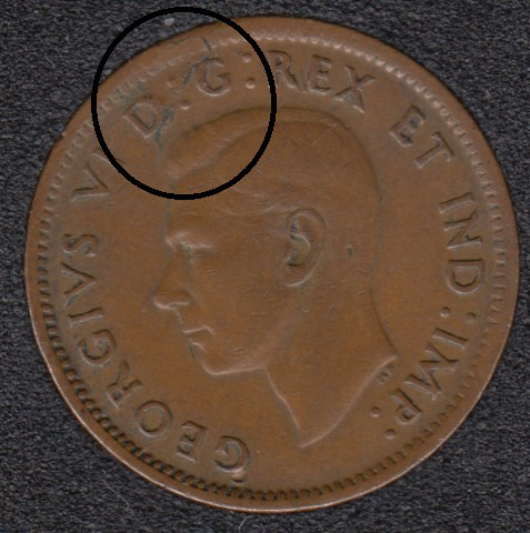 1943 - Planchet Flaw & Rotated Dies - Canada Cent