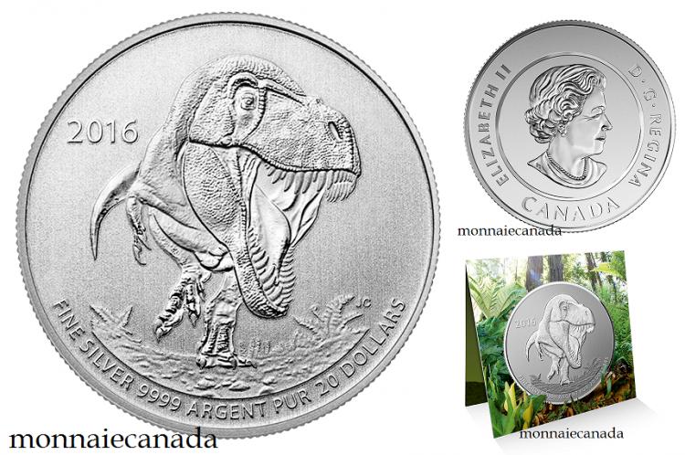 2016 - $20 for $20 Fine Silver - T-Rex - No Tax