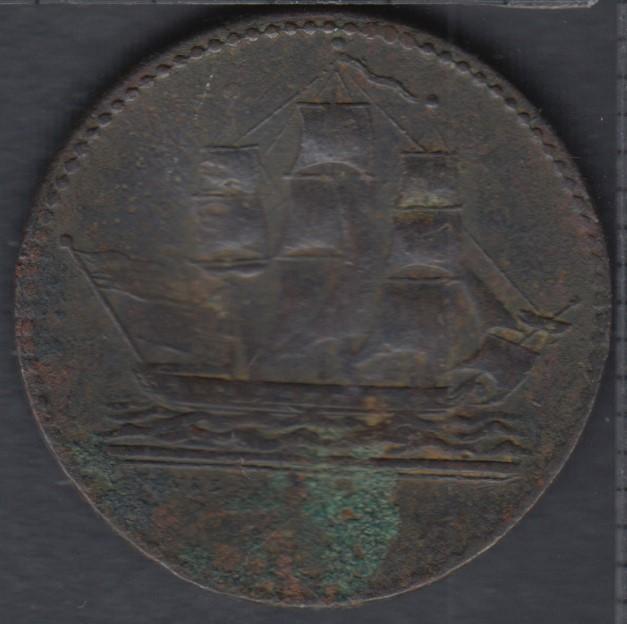 P.E.I. - 1829 - Ship Colonies & Commerce - With W&BN.Y - United States Flag - Plié - PE-10-1