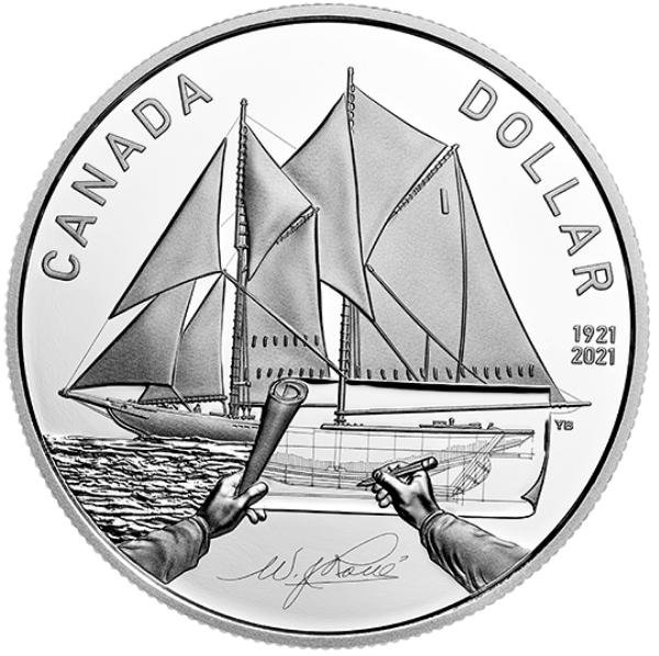 2021 - Dollar épreuve numismatique en argent – 100e anniversaire du Bluenose